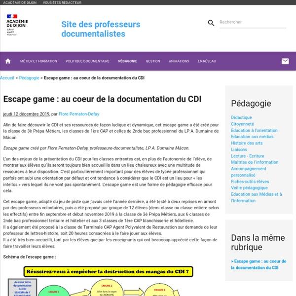 Escape game : au coeur de la documentation du CDI