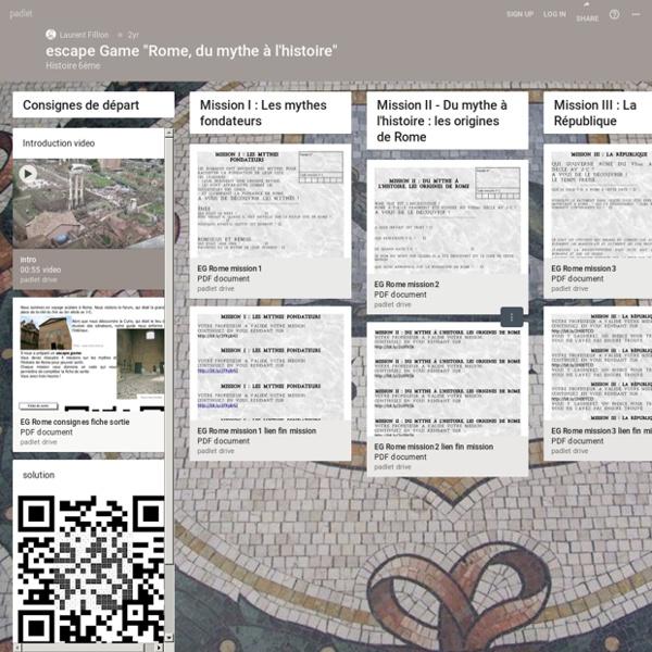 """Escape Game """"Rome, du mythe à l'histoire"""" avec Padlet"""