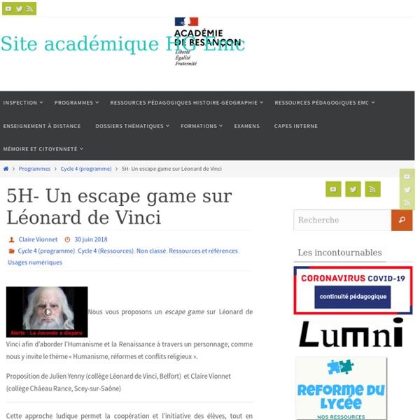 5H- Un escape game sur Léonard de Vinci