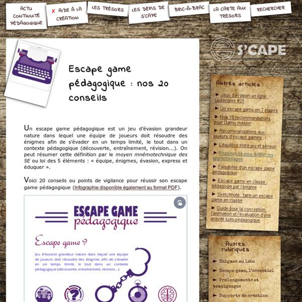 S'CAPE-Escape game pédagogique: nos 20 conseils