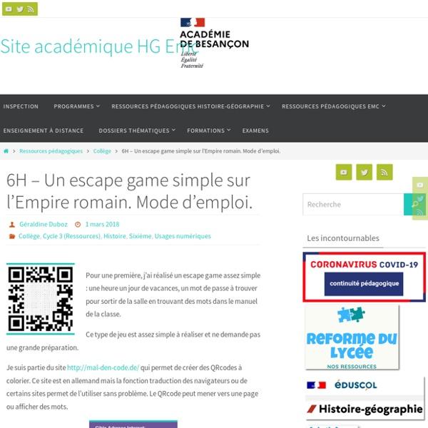 6H - Un escape game simple sur l'Empire romain. Mode d'emploi. - Site académique HG Besançon