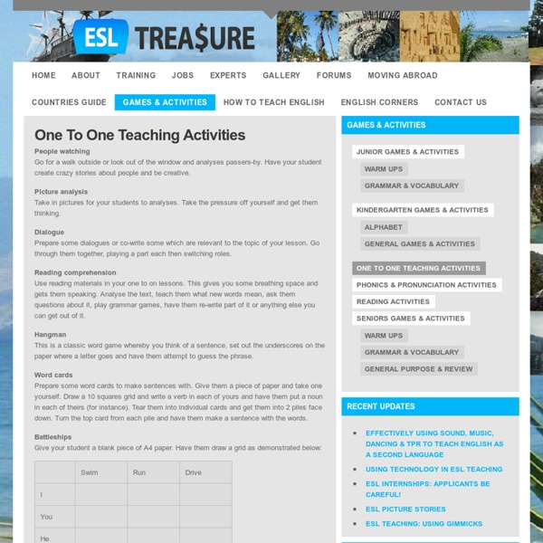 One To One Teaching Activities « ESL Treasure