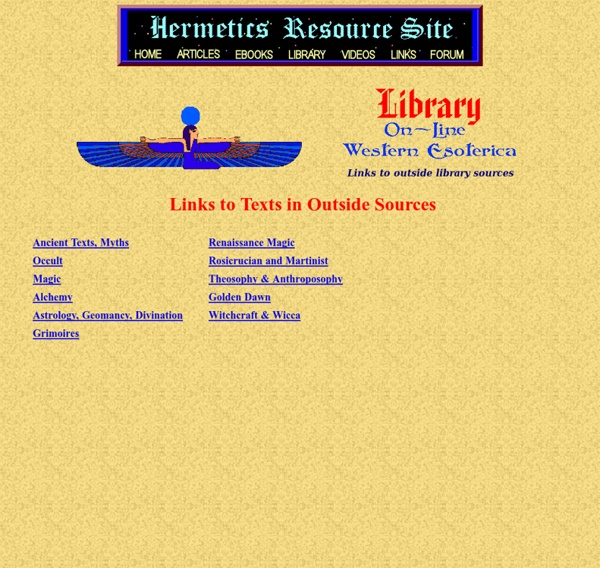 Esoteric Magical E-Books Library Main Menu