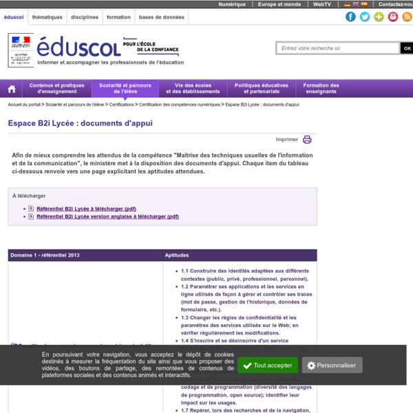 Espace B2i Lycée : documents d'appui