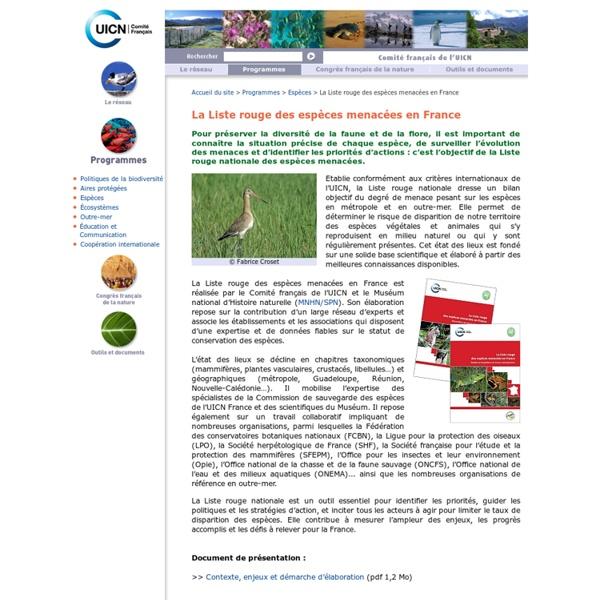 La Liste rouge des espèces menacées en France