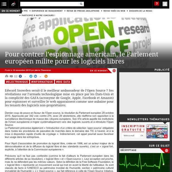 Pour contrer l'espionnage américain, le Parlement européen milite pour les logiciels libres