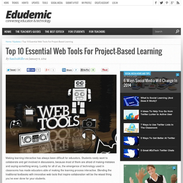 Top 10 Essential Web Tools For Project-Based Learning