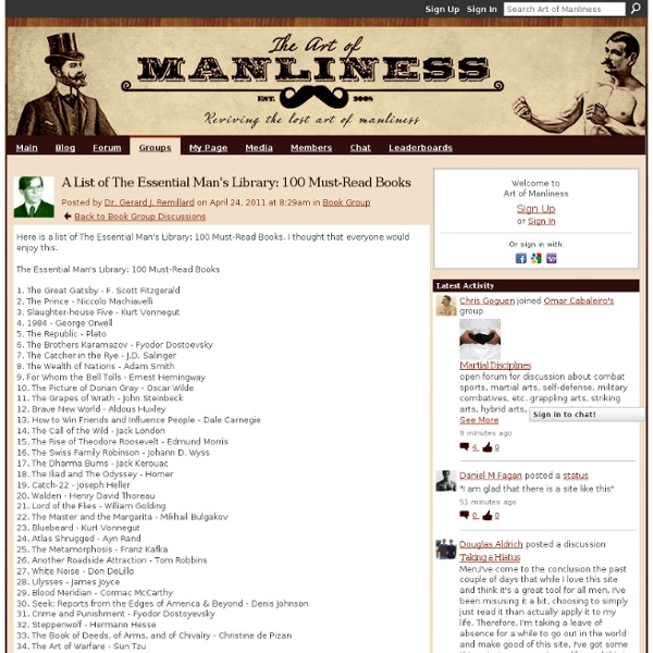 A List of The Essential Man's Library: 100 Must-Read Books - Art of...