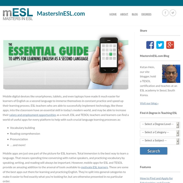 The Essential Guide to Apps for Learning English as a Second Language – Masters in ESL