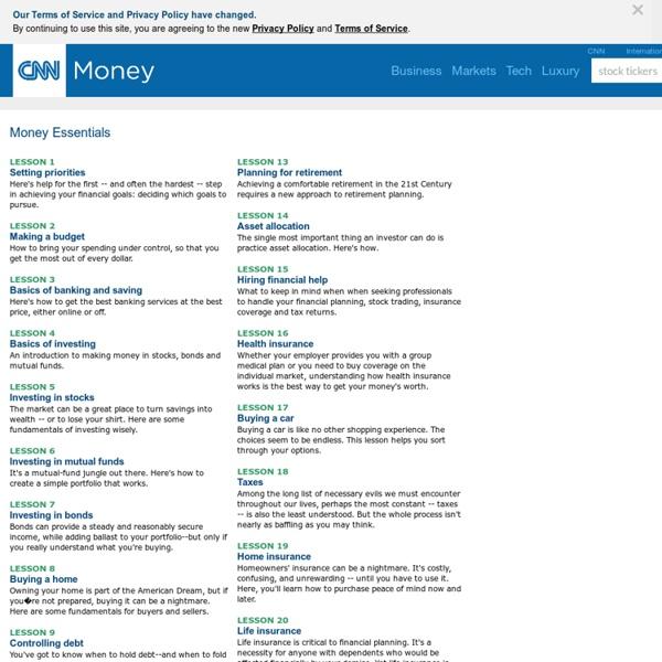 Money 101 - Financial Advice & Lessons Made Easy by CNNMoney.com