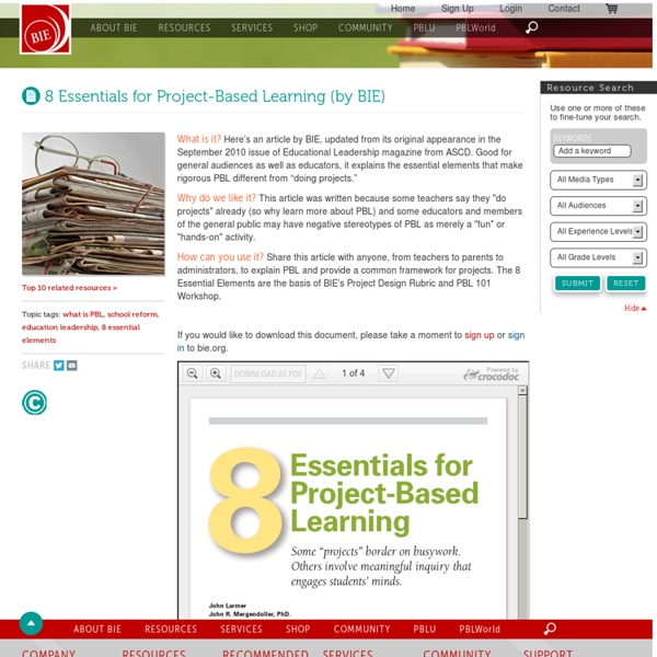 8 Essentials for Project-Based Learning