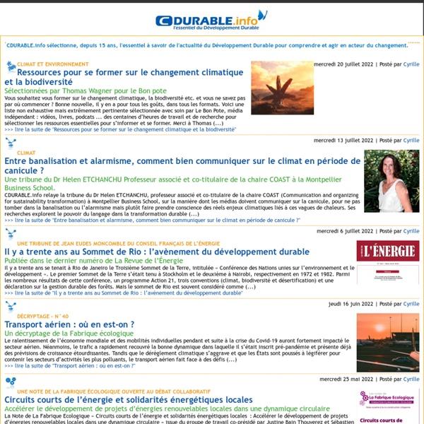 CDURABLE.info l'essentiel du développement durable