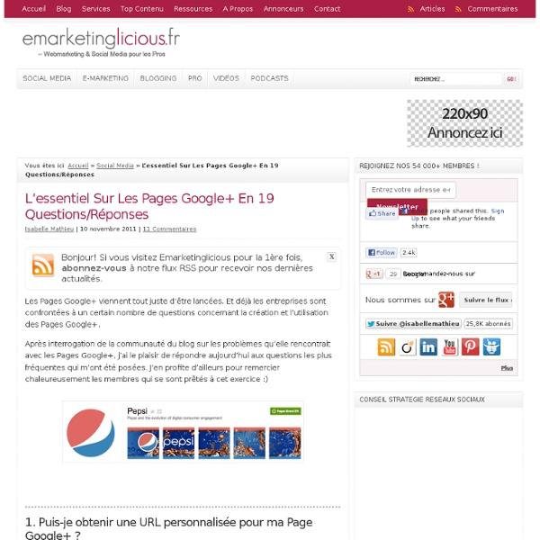 L'essentiel Sur Les Pages Google+ En 19 Questions/Réponses