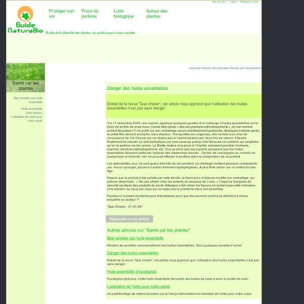 Danger des huiles essentielles conseil en jardinage for Conseil en jardinage
