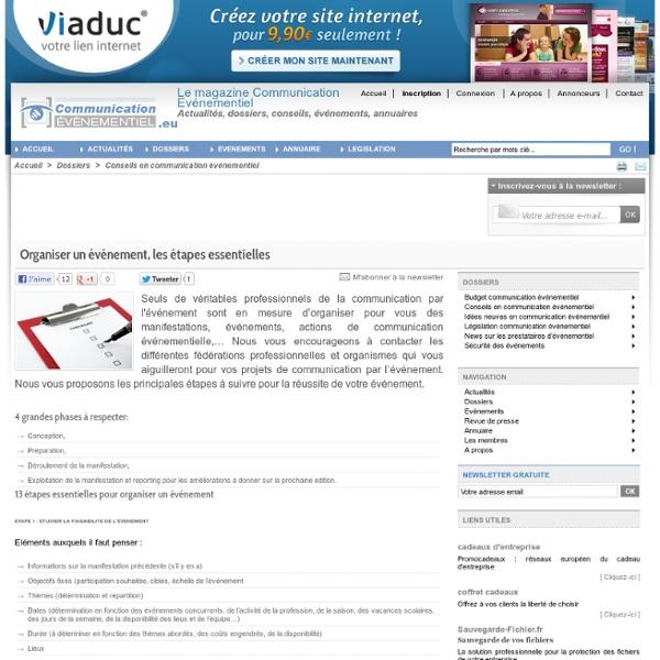 Organiser un événement, les étapes essentielles - Communication-Evenementiel.eu