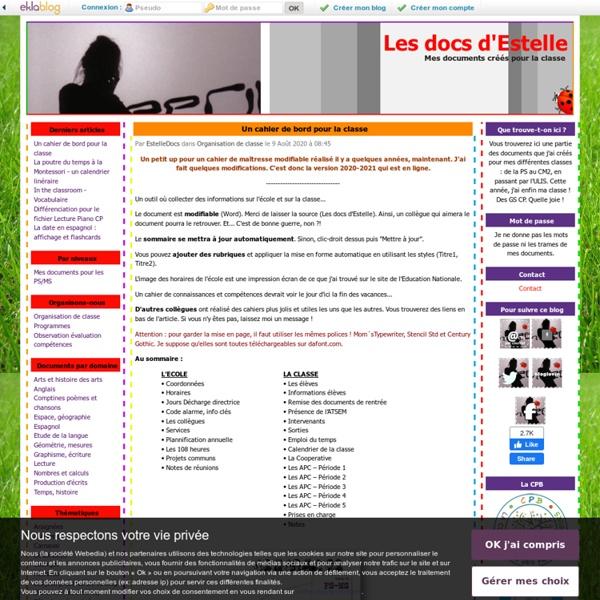 Les docs d'Estelle - Mes documents créés pour la classe