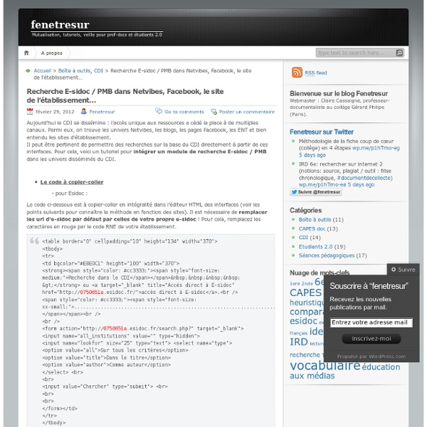 Recherche E-sidoc / PMB dans Netvibes, Facebook, le site de l'établissement…