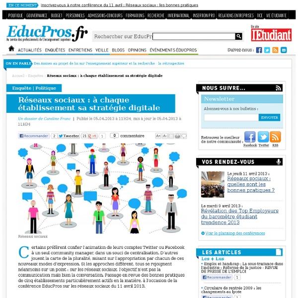 Réseaux sociaux : à chaque établissement sa stratégie digitale - Enquête sur Educpros