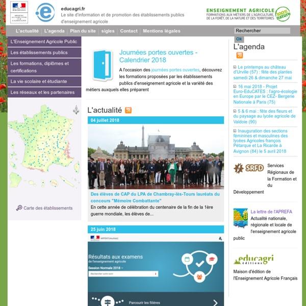 Le site d'information et de promotion des établissements publics d'enseignement agricole