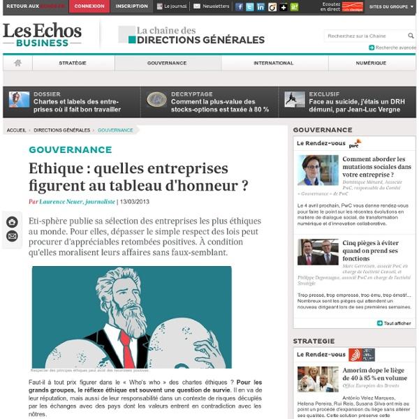Ethique : quelles entreprises figurent au tableau d'honneur ?