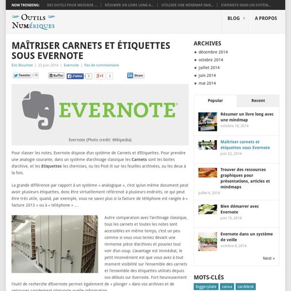 Maîtriser carnets et étiquettes sous Evernote - Les Outils Numériques