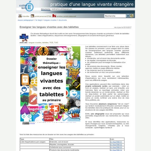 Pratique d'une langue vivante étrangère - Enseigner les langues vivantes avec des tablettes