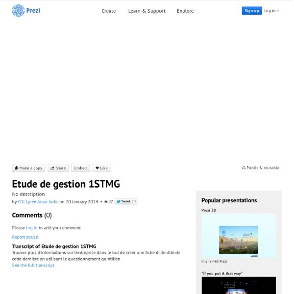 Etude de gestion 1STMG by CDI Lycée Anna Judic on Prezi