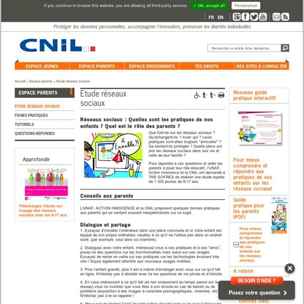 CNIL - Etude sur l'usage des adolescents des réseaux sociaux