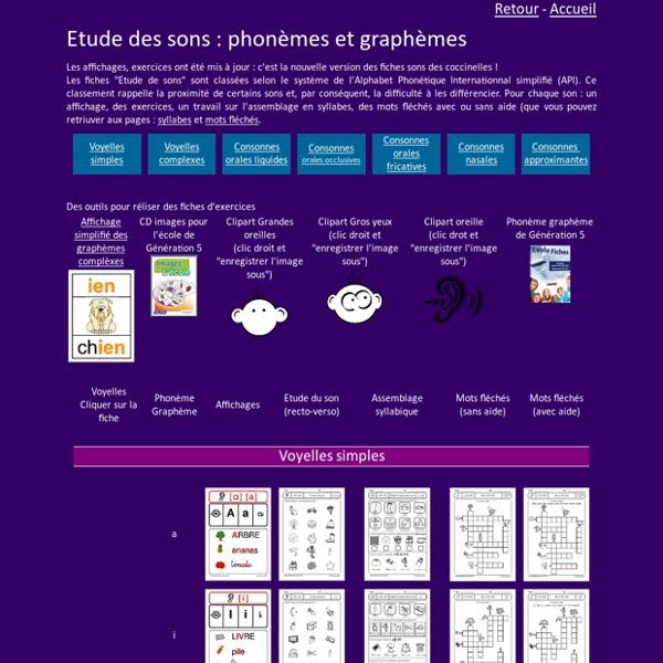 Etude de sons GS CP CE1, phonèmes et graphèmes