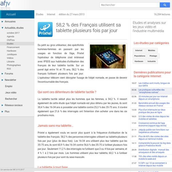 Etude sur les usages des tablettes en France