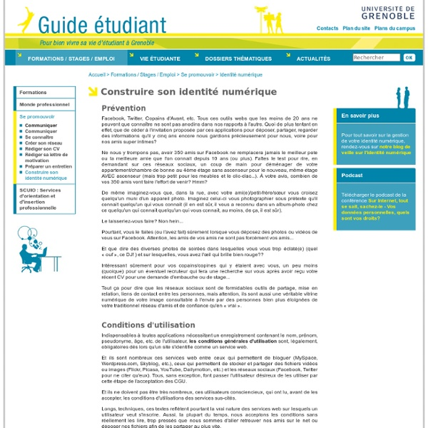Guide Etudiant Grenoble - Construire son identité numérique