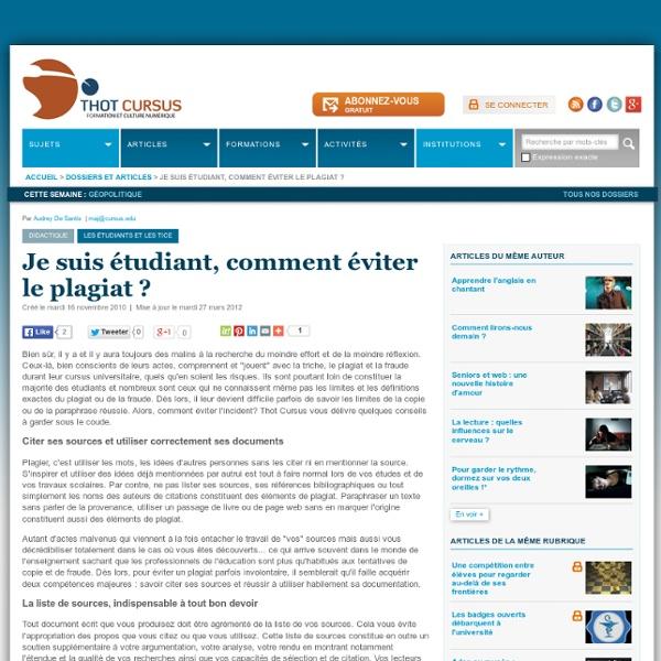 Je suis étudiant, comment éviter le plagiat ?