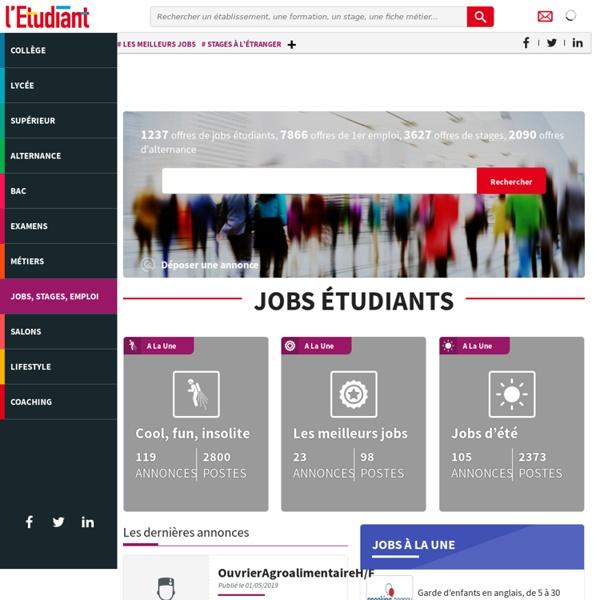Job étudiant, stages et offre d'emploi en alternance, dépôt d'offre avec L'Etudiant - Letudiant.fr