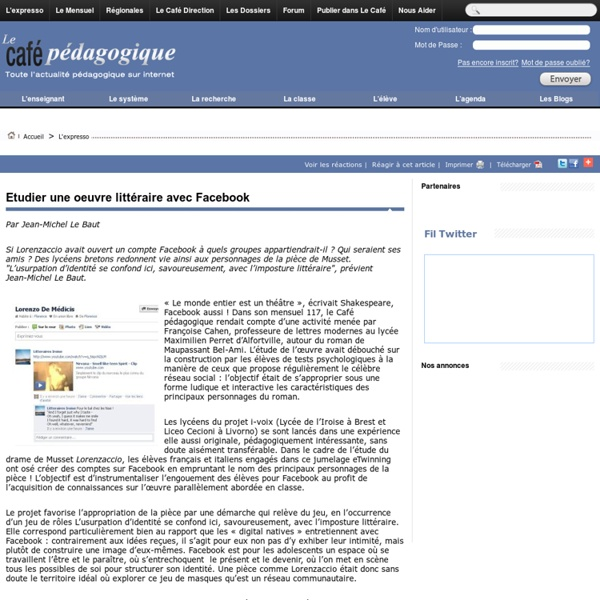 Musset - Lorenzaccio sur Facebook (Café pédagogique)