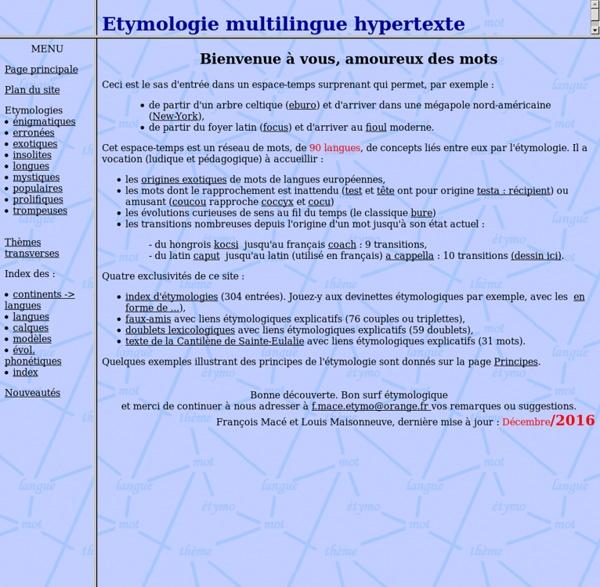 Etymologie multilingue hypertexte