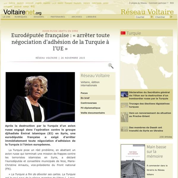Eurodéputée française : « arrêter toute négociation d'adhésion de la Turquie à l'UE »