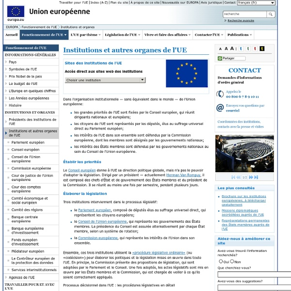 Institutions et autres organes de l'UE
