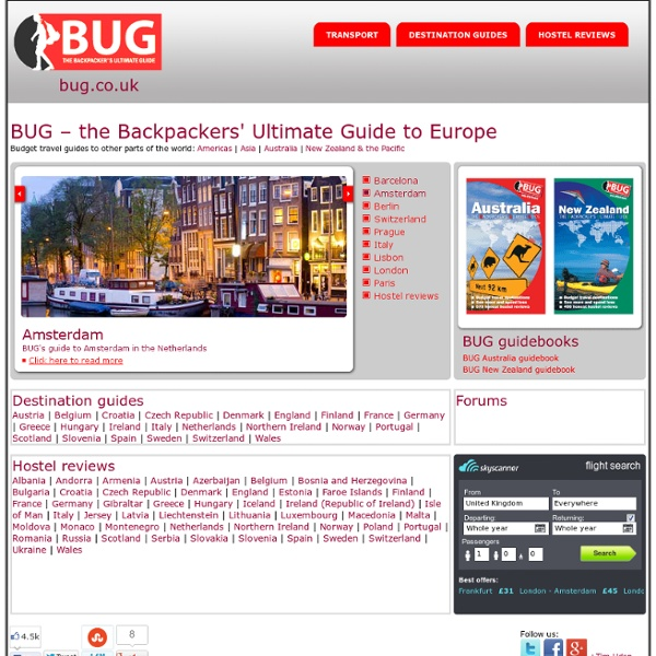 BUG Europe - the Backpackers' Ultimate guide to budget travel in Europe