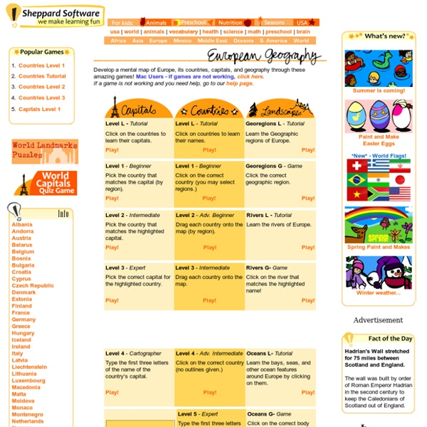 Europe - Map Game, Geography online games.url