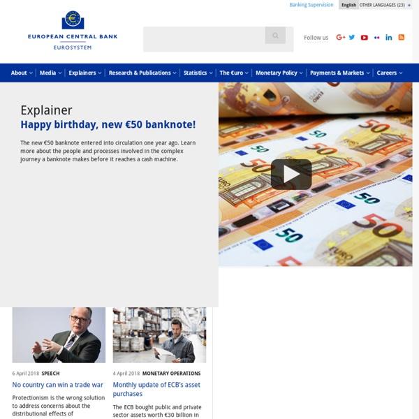 Banque centrale européenne page d'accueil de la Banque