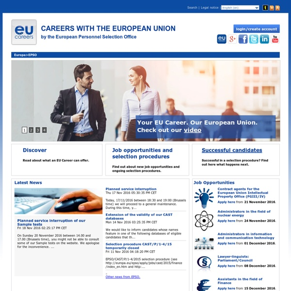 EU careers : The European Personnel Selection Office is the place to start!