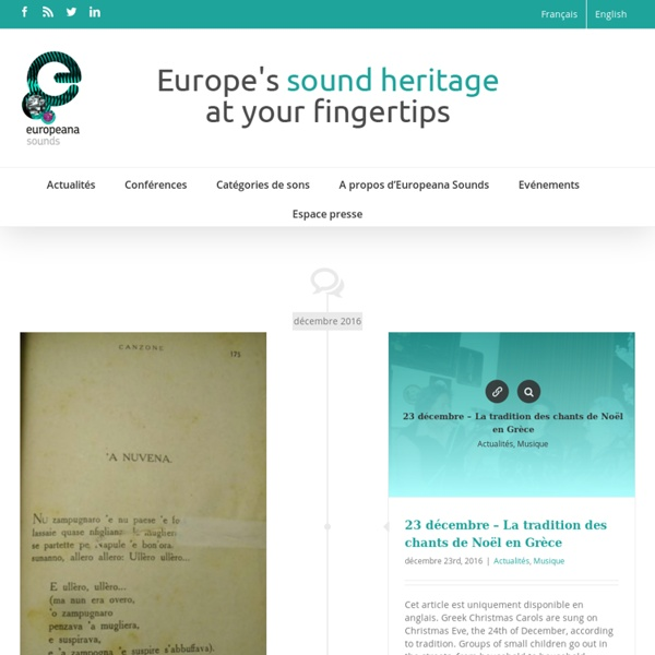 Europeana Sounds – Europe's sound heritage at your fingertips