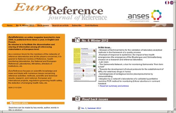 ANSES18/12/12EuroReference N°8 Le Réseau Salmonella, un outil pour la surveillance des salmonelles de la « fourche à la fourch