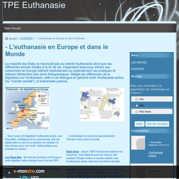 - L'euthanasie en Europe et dans le Monde