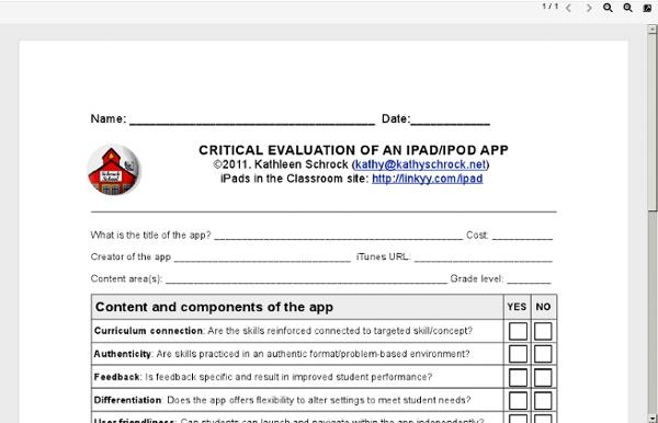 Critical evaluation of an ipad/ipod app