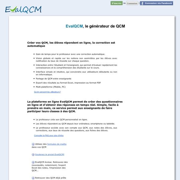 EvalQCM, le générateur de QCM