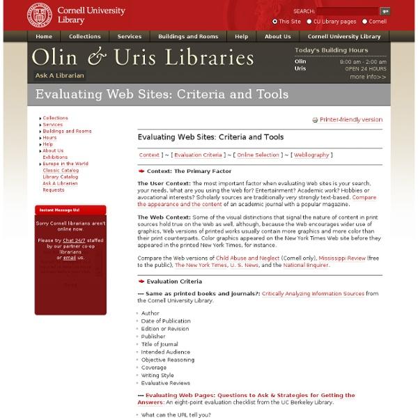 Evaluating Web Sites: Criteria and Tools
