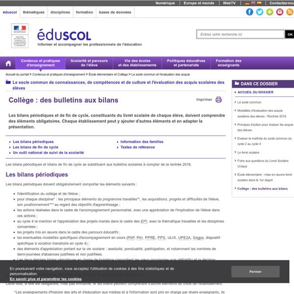 Le socle commun et l'évaluation des acquis - Collège : des bulletins aux bilans