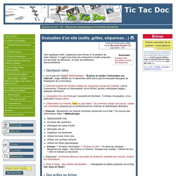 Evaluation d'un site (outils, grilles, séquences…)