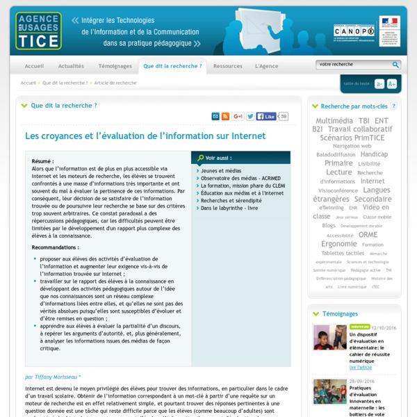L'Agence nationale des Usages des TICE - Les croyances et l'évaluation de l'information sur Internet